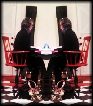 Sarah at her desk x 2
