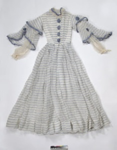 1860s blue striped muslin dress from St. Albans Museums